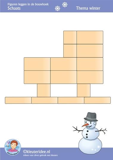 Schaats, figuren leggen in de bouwhoek, thema winter , juf Petra van kleuteridee, Preschool patterns for block area, free printable.