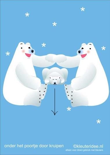 Bewegingskaarten ijsbeer voor kleuters 11 , onder het poortje door kruipen , kleuteridee.nl, thema Noorpool, Movementcards for preschool, free printable.