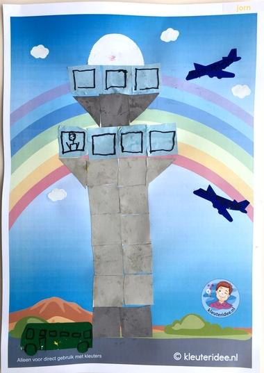 Verkeerstoren knutselen met 16 vierkantjes, thema vliegveld, kleuteridee, Kindergarten control tower craft, airport theme 2