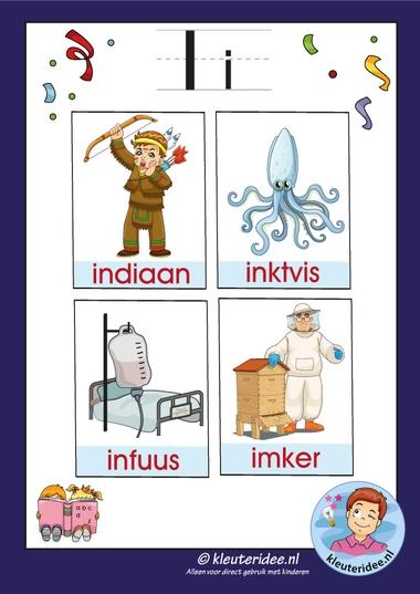 Pakket over de letter i blad 3a, woordkaarten met een i, kleuteridee, free printable.