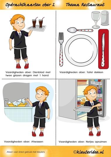 Opdrachtkaarten ober(opleiding) voor kleuters 2, thema restaurant, juf Petra van kleuteridee.nl, Waiter job tickets, Restaurant role play cards 2, free printable.