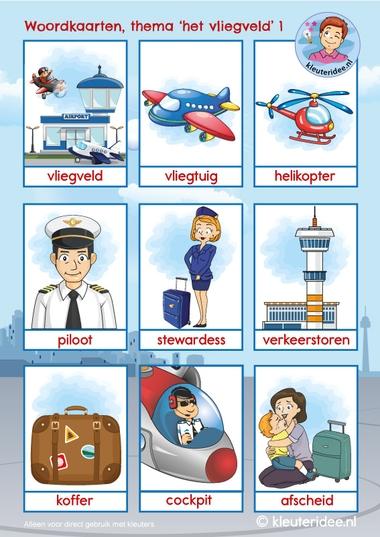 Woordkaarten vliegveld voor kleuters 1, kleuteridee, free printable