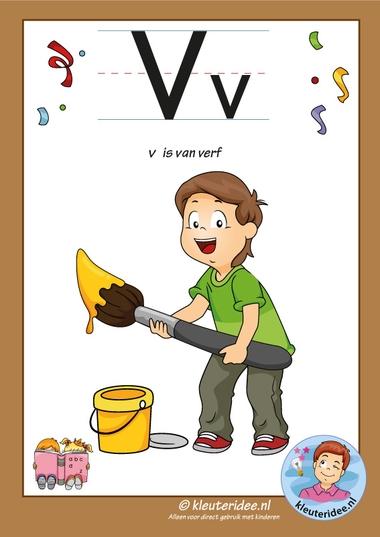 Pakket over de letter v blad 2, letterkaart met een v, kleuteridee, free printable