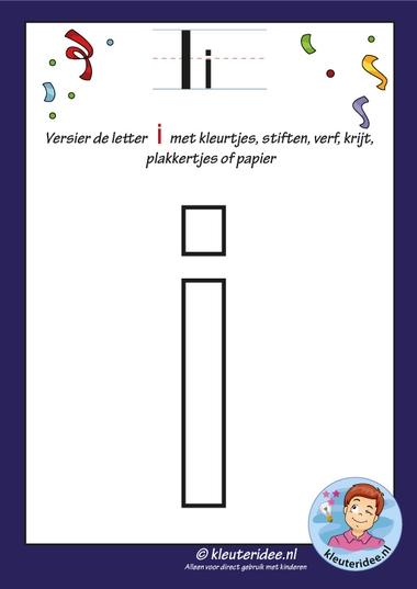 Pakket over de letter i blad 4, versier de letter i, letters aanbieden aan kleuters, kleuteridee, free printable.