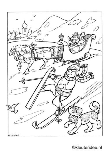 Kleurplaat skieën , kleuteridee.nl , winter preschool coloring.