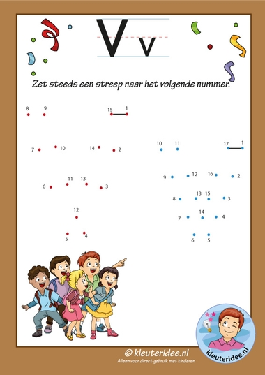 Pakket over de letter v blad 13, verbind de punten v, kleuteridee, free printable