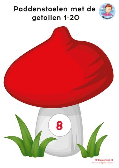 paddenstoelen 1-20 voor rekenen met kleuters, kleuteridee