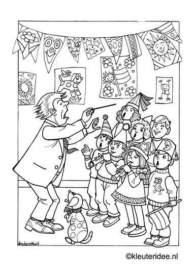 Kinderkoor, kleurplaat op kleuteridee, children's choir, free printable coloringpage.Kinderkoor, kleurplaat op kleuteridee, children's choir, free printable coloringpage.