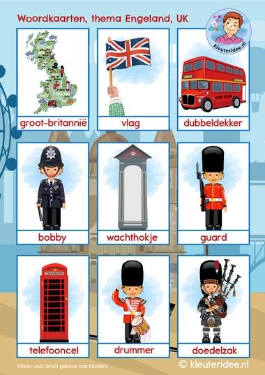 Woordkaarten Engeland UK 1, kleuteridee, free printable