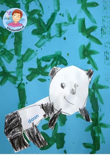 Panda's tekenen en bamboe stempelen 4, knutselen met kleuters, kleuteridee