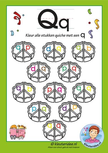 Pakket over de letter q, blad 6, kleur alle quiches met een q, letters aanbieden aan kleuters, kleuteridee