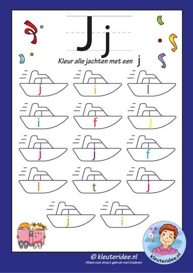 kleur alle jachten met een j, letters aanbieden met kleuteridee.