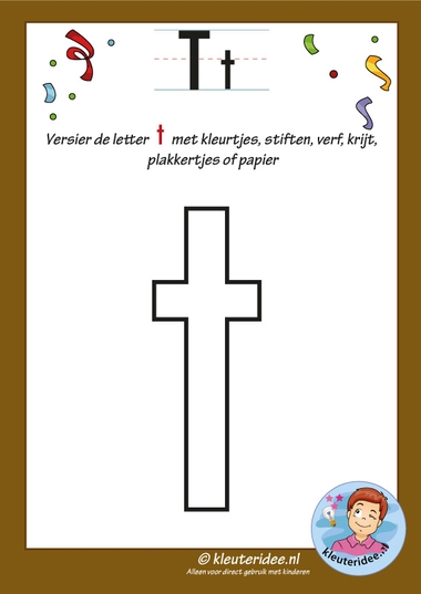 Pakket over de letter t blad 5, versier de letter t, kleuteridee, free printable