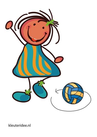 Bewegingskaart bal voor kleuters, een rondje om de bal lopen, kleuteridee.nl, free printable moving cards for preschool.