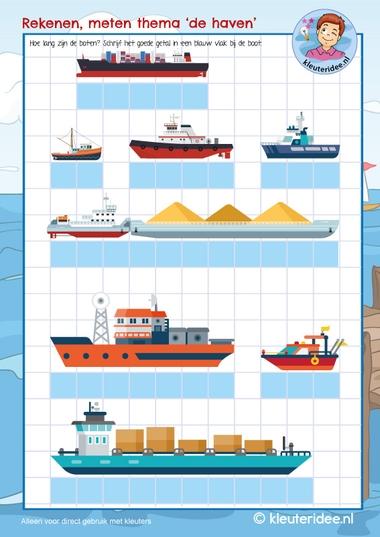 boten meten met kleuters, rekenen thema de haven, kleuteridee, free printable