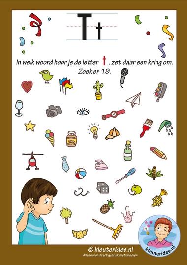 Pakket over de letter t blad 8, in welk woord hoor je een t, letters aanbieden aan kleuters, kleuteridee, free printable k