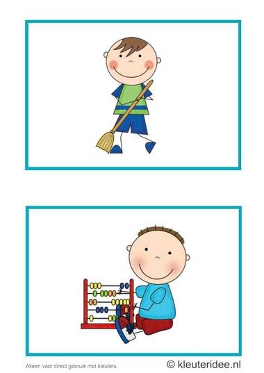 Dagritmekaarten voor kleuters 18, kleuteridee.nl , vegen en rekenspelletje , daily schedule cards for preschool 18, free printable.