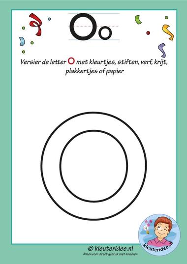 Pakket over de letter o blad 5, versier de o, kleuteridee, free printable