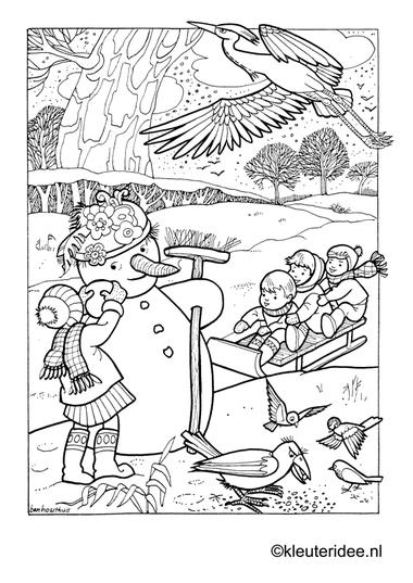 Kleurplaat sneeuwpop, winter, sleeën , kleuteridee.nl , winter preschool coloring.