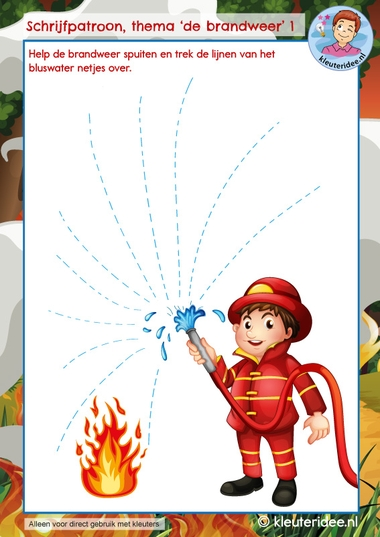 Schrijven thema de brandweer, kindergarten writing pattern firefighters theme, kleuteridee 1