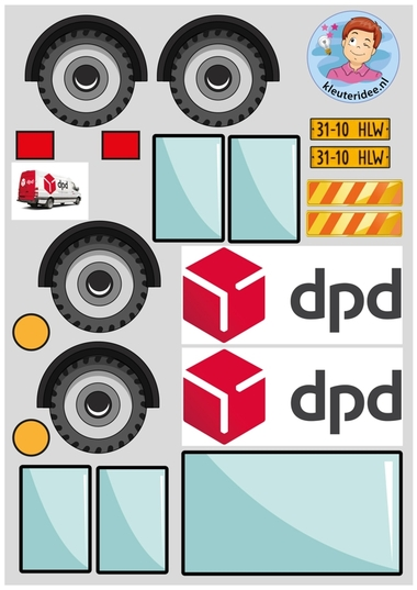 Knipvellen pakketauto's kleuteridee DPD