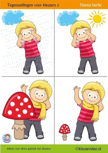 Tegenstellingen voor kleuters 2, thema herfst, kleuteridee, Preschool opposites 1, free printable.