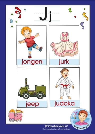 woordkaartjes j, letters voor kleuters, kleuteridee, j letterpack voor kindergarten