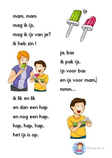 mag ik ijs, verhaaltje voor kleuters die beginnen te lezen, AVI-start, kleuteridee.nl, free printable