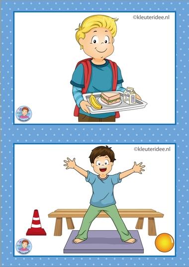 1 overblijven en gymen.32 dagritmekaarten voor kleuters, juf Petra kleuteridee / Preschool schedule cards