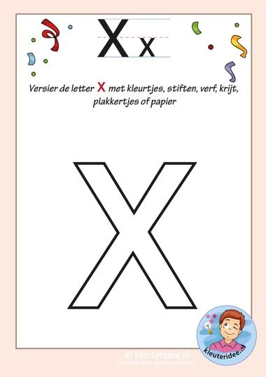 Pakket over de letter x blad 5, versier de letter x, kleuteridee, free printable