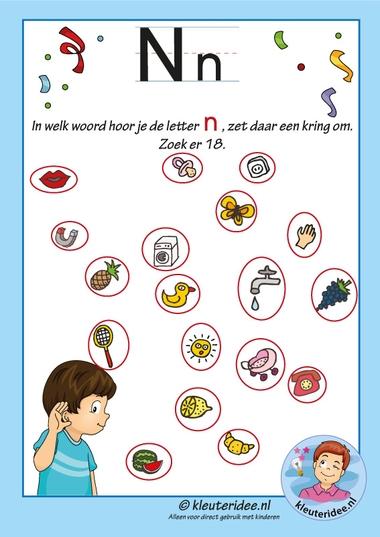 Pakket over de letter n blad 9, in welk woord hoor je een n, antwoorden, letters aanbieden aan kleuters, kleuteridee, free printable