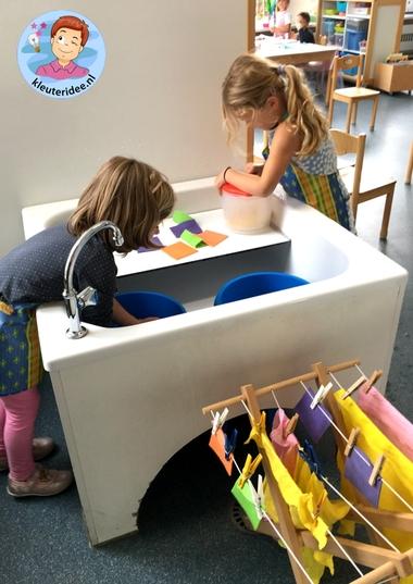 Handwas en centrifugeren, rollenspel voor kleuters, kleuteridee.