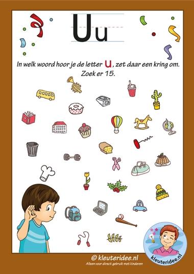 Pakket over de letter u blad 8, in welk woord hoor je een u, letters aanbieden aan kleuters, kleuteridee, free printable.jpg