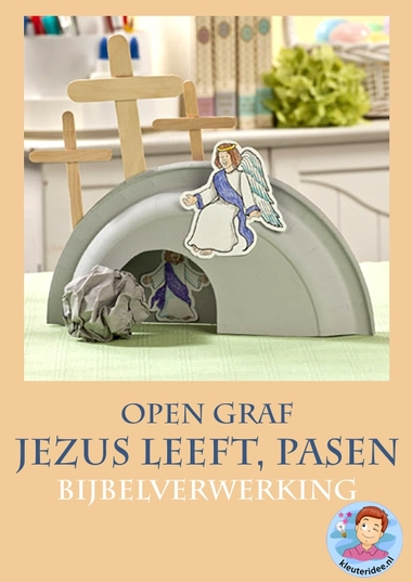 Jezus leeft, open graf, knutselen verwerking, kindergarten ressurrection craft, free printable, kleuteridee