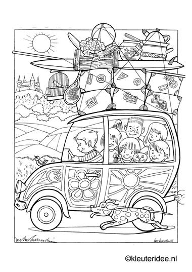 Op vakantie met de auto 2, kleurplaat op kleuteridee, on holiday by car, free printable coloringpage.