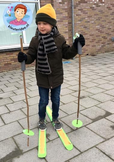 Ski knutselen met kleuters 5g kindergarten mountains theme, kleuteridee