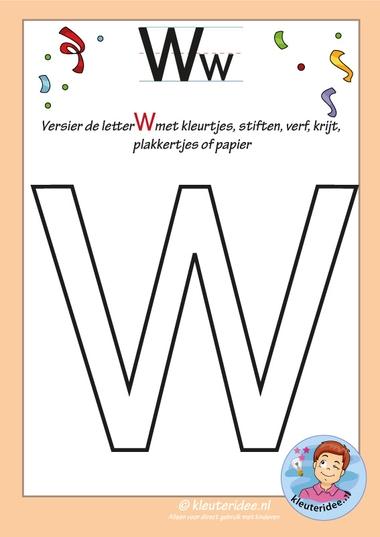 Pakket over de letter w blad 6, versier de hoofdletter W, kleuteridee, free printable