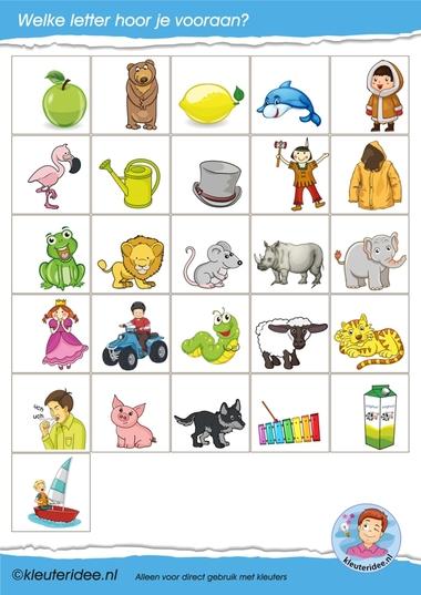 Letterkaartjes voor de taalhoek 3, letters herkennen, eerste letter, kleuteridee.nl, free printable.