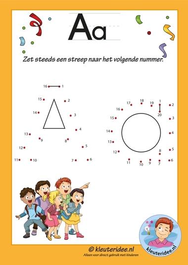 Pakket over de letter a blad 10, verbind de punten, letters aanbieden aan kleuters, kleuteridee.nl, free printable.