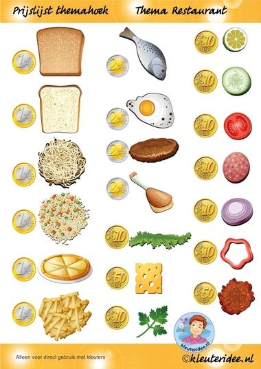 Prijslijst themahoek, thema restaurant, juf Petra van kleuteridee.nl, Restaurant role play, free printable.