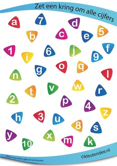 Zet een cirkel om alle getallen, juf Petra van kleuteridee, rekenen met kleuters, put a circle around all the numbers, free preschool printable.