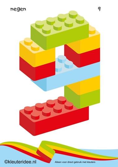 Cijfers van lego 1 -10 voor kleuters, nummer 9 , kleuteridee.nl , lego numbers for preschool 1-10 , free printable.