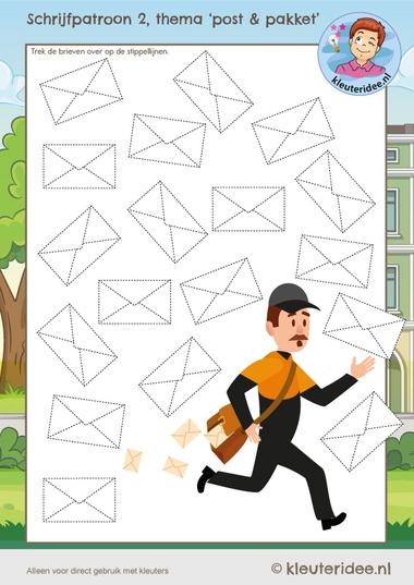Schrijfpatroon post voor kleuters, kleuteridee, Kindergarten mailt writing pattern kl