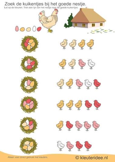 Zoek de goede kuikentjes bij het nestje, kleuteridee.nl, thema lente, Looking good chicks at the nest free printable.