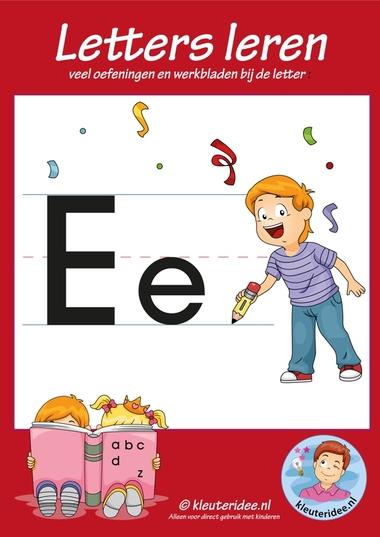 Pakket over de letter e blad 1, voorkant, letters aanbieden aan kleuters, kleuteridee.nl, free printable.