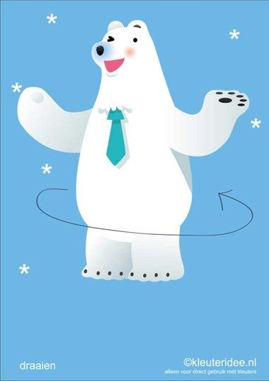 Bewegingskaarten ijsbeer voor kleuters 3, draaien , kleuteridee.nl, thema Noorpool, Movementcards for preschool, free printable.