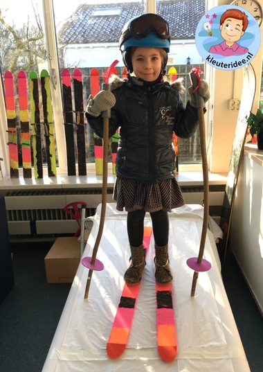 ski knutselen, thema bergen met kleuters, kindergarten ski craft, kleuteridee 7