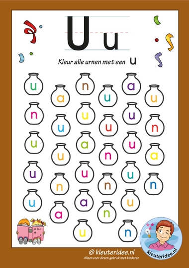 Pakket over de letter u, blad 6, kleur alle urnen met een u, letters aanbieden aan kleuters, kleuteridee, free printable