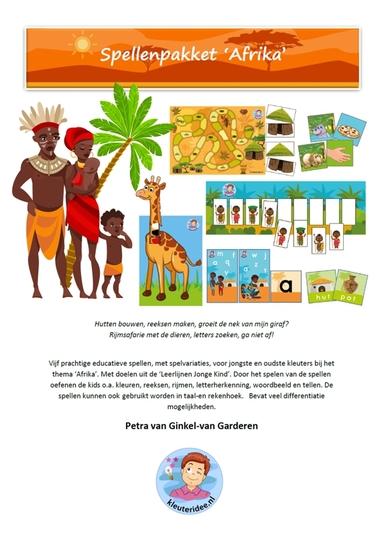 Voorkant spellenpakket Afrika, kleuteridee.nl