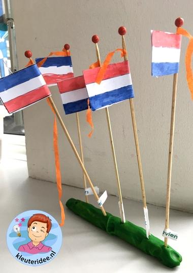 vlag knutselen, bevrijdingsdag, kleuteridee